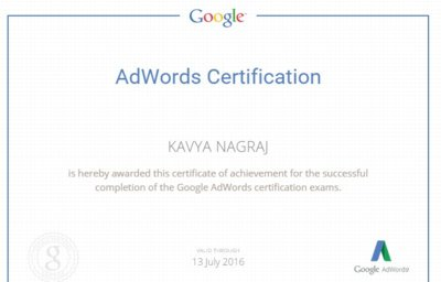 Kavya Adwords Certification